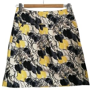 3/30$ Floral / Abstract Grey & Yellow Mini Skirt